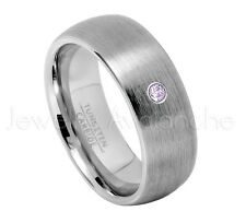 0.07ct Amethyst Solitaire Ring, February Birthstone, 8mm Dome Tungsten Ring #069