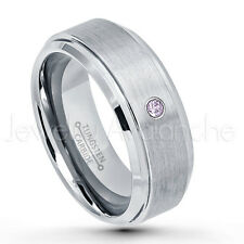 0.07ct Amethyst Solitaire Ring, February Birthstone, Brushed Tungsten Ring #162