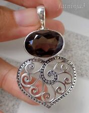 Gemstone Solid Silver, 925 Balinese Heart Filigree Design Pendant 27292