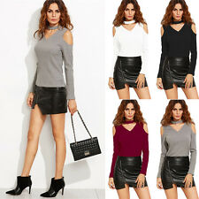 Women Long Sleeve Off Shoulder Slim Fitted V Neck T-Shirt Casual Blouse Pullover