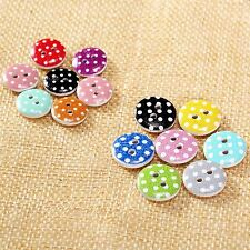 13/15mm Mixed Color Round Pattern Dot 2 Holes Wood Buttons Sewing Scrapbooking
