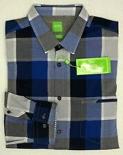 NWT $135 Hugo Boss Modern Fit Blue Plaid LS Shirt Mens Size L XXL C-Bansi NEW