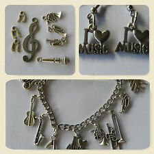 I Love Music, charm bracelet 10 charms,  set of 8 music charms+ music earrings