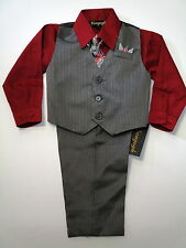Vangogh boys red & charcoal long sleeve pin stripe 4 piece dress set 2t-4t
