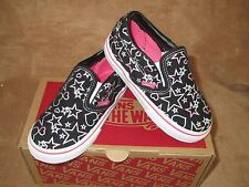 NEW VANS CLASSIC SLIP ON FOIL STARS & HEARTS SHOE BLACK/HT PINK TODDLER 6T, 8.5T