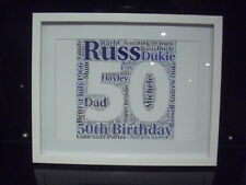 LUXURY 50th word art picture with frame mount diamontes
