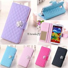 Fashion Luxury Grid Wallet Stand Flip PU Leather Cover Case for Samsung EA77