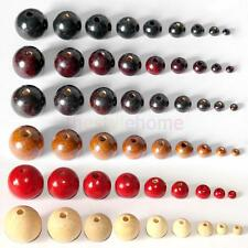MagiDeal 50Pcs Natural Wood Round Charm Spacer Beads For Bracelet Necklace DIY