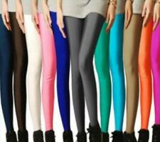 Footless Disco Candy Colors Pants Leggings Shiny Cute High Waisted