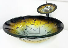 """Plus 17"""" Artistic Pattern Bathroom Tempered Glass Vessel Sink Faucet Combo"""