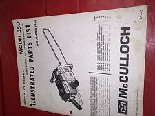 McCulloch Chainsaw 1968 ILLUSTRATED PARTS LIST MODEL 550 ORIGINAL