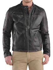 New Men's Genuine Lambskin Leather Jacket Slim fit Biker Motorcycle jacket-MX55