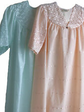 Ladies Short Sleeve Broderie Anglaise Cotton Rich V Neck Nightdress Nightie