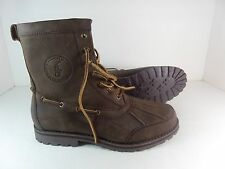 NEW Polo Ralph Lauren Dark Brown Leather Lace Up Whitsand Ankle Boots $179