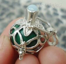 Larimar Solid Silver, 925 Balinese Brass Mystic Chime Pendant 23192