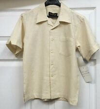 Boys Linen Rayon Short Sleeves Banana 2-Piece Vangogh Suit 2-Pleated Pants 8-14