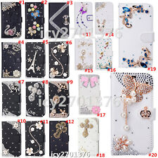 Magnetic Bling Luxury Diamonds Crystal PU Leather wallet flip Stand Cover Case M