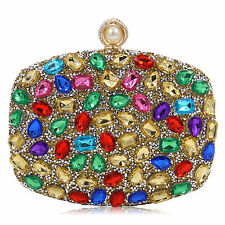 Multicolor Rhinestone Evening Clutch Shoulder Bags Wedding Party Purse Handbag