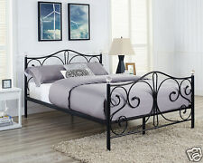 Metal Bed Double King Size Frame Black White With Crystals Finials and Mattress