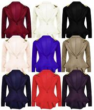 Ladies Women Casual Spike Studded Shoulder Peplum Frill Style Button Blazer