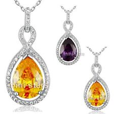 Bride Simulated Sapphire 5 Carat Pear CZ Sterling 925 Silver Pendant Necklace