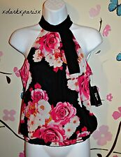 NEW NWT women iZ BYER Smocked Floral & Shimmer Lined Chiffon TANK SZXS,S,L $38