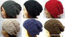 Women Men Oversize Beanie Hat Braided Knit Slouchy Skater MANY COLORS!