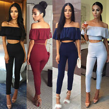 Sexy Womens Casual Short Sleeve Bodycon Romper Jumpsuit Club Bodysuit Long Pants
