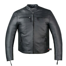 New Men's Armor Touring Motorcycle Leather Cruiser Stretchable Jacket Black