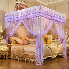 Purple Height QC 4 Post Bed Curtain Canopy Mosquito Netting Twin Queen Size