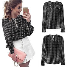 Fashion Womens Ladies Loose Long Sleeve Chiffon Casual Blouse Shirt Tops Blouse