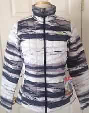 $199 NWT Womens The North Face Thermoball Full Zip Jacket TNF Black Stripe S