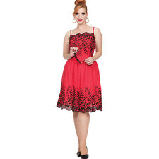Voodoo Vixen SCALETT Embroidery Flare Dress Red Retro Vintage Rockabilly Pin Up