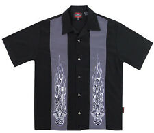 New Mens Dragonfly Roadhouse Forged Button Up Short Sleeve Biker Work Shirt BLK