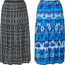 New Women's Plus Size Tiered Gypsy Elasticated Waist Lined Maxi Skirt