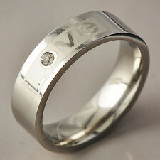 """Womens Mens silver plated Crystal """"LOVE"""" promise Band Ring Size 8-11"""
