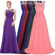Elegant Long Bridesmaid Dress Chiffon Lace Formal Party Ball Evening Prom Gowns