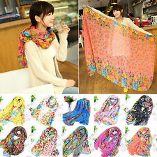 Noble Ladies Womens Flower Printed Neck Shawl Scarf Scarves Wrap Stole Warm Gift