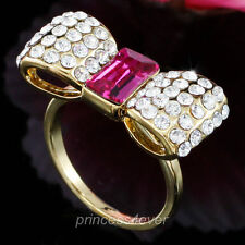 Bow Gold Plated Ring use Swarovski Crystal US Size 6, 7, 8 - SR183