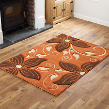 Terracotta Orange Brown Small X Large Rug - Thick Soft Modern Quality Runner Rug