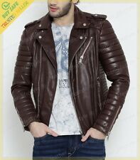 Mens Genuine Lambskin Leather Jacket Brown Slimfit Biker Motorcycle jacket UK101