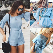 Fashion Women Off Shoulder Ruffle Sleeve Shorts Pants Casual Jumpsuit Romper