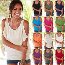 Womens Off The Shoulder Short Sleeve T-Shirt Loose Casual Top Blouse Tee Summer&
