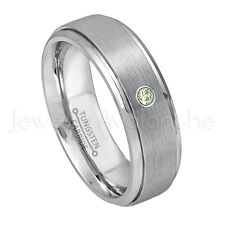 0.07ct Peridot Solitaire Ring,August Birthstone Ring,Brushed Tungsten Ring #068