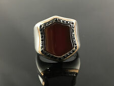 Unique. 925 Sterling Silver Red Agate Aqeeq Stone Men's Ring -US Seller - 1K8C