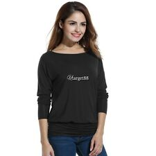Women Casual Boat Neck Batwing Sleeve Solid Draped Blouse Dolman Top UTAR01
