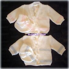 BABY GIRL BOY CARDIGAN HAT BOOTIES SET-0/3-3/6-6/9 MONTHS-WHITE-BLUE/PINK-NEW