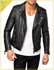 Mens Genuine Lambskin Leather Jacket Black Slimfit Biker Motorcycle jacket UK107