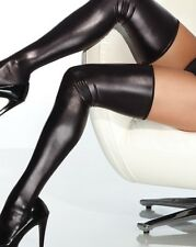 Coquette Black Wet Look Thigh High Stockings - Erotic Fetish Dom Sexy Kinky