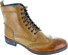 Frank Wright Cypress Men's Tan Lace Up Leather Ankle Wingtip Brogues Boots New